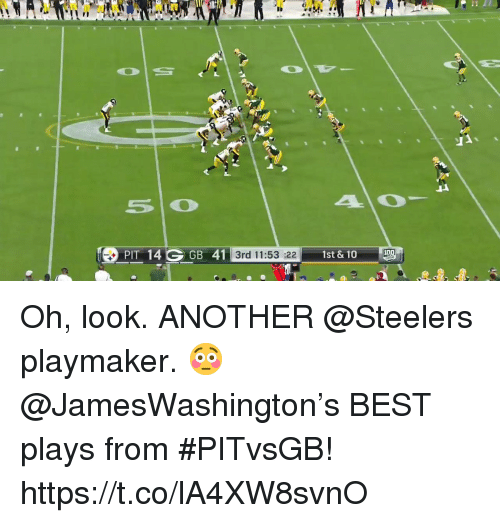 Memes, Best, and Steelers: PIT 14 GGB 41  1st & 10  3rd 11:53 :22 Oh, look.  ANOTHER @Steelers playmaker. 😳  @JamesWashington's BEST plays from #PITvsGB! https://t.co/lA4XW8svnO