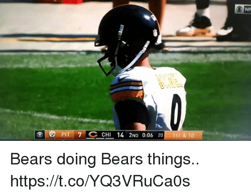 Football, Nfl, and Sports: PIT 7 CHI 14 2ND 0:06 20 Bears doing Bears things.. https://t.co/YQ3VRuCa0s