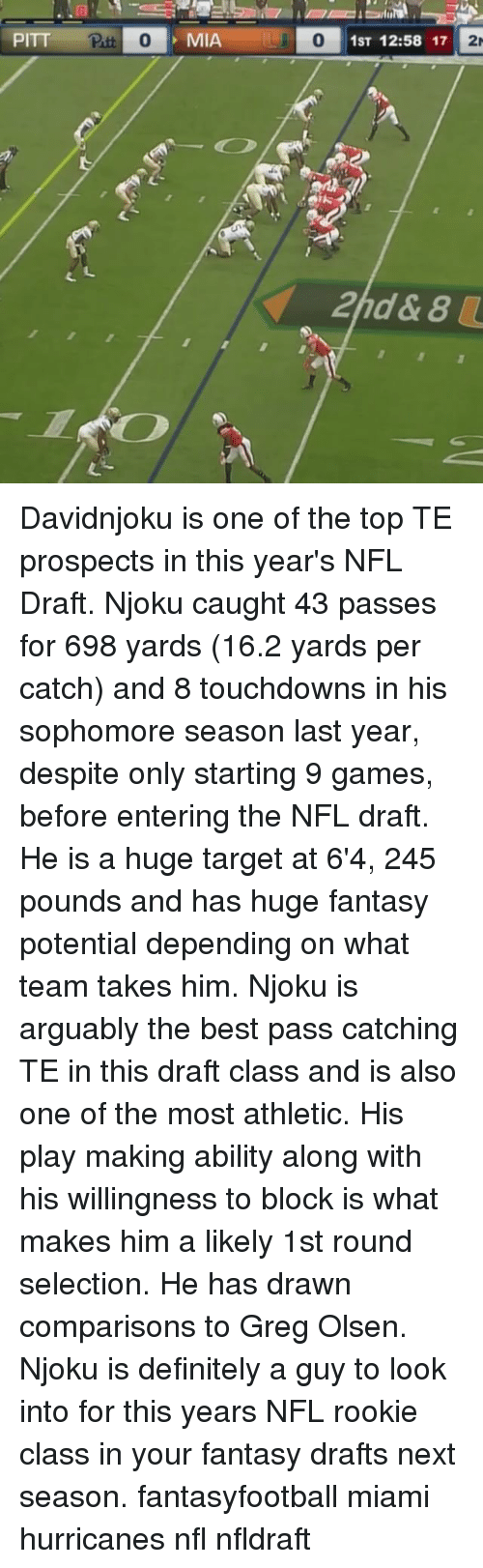 miami hurricanes: PITT  Patt 0  MIA  O 1ST 12:58 17  2r Davidnjoku is one of the top TE prospects in this year's NFL Draft. Njoku caught 43 passes for 698 yards (16.2 yards per catch) and 8 touchdowns in his sophomore season last year, despite only starting 9 games, before entering the NFL draft. He is a huge target at 6'4, 245 pounds and has huge fantasy potential depending on what team takes him. Njoku is arguably the best pass catching TE in this draft class and is also one of the most athletic. His play making ability along with his willingness to block is what makes him a likely 1st round selection. He has drawn comparisons to Greg Olsen. Njoku is definitely a guy to look into for this years NFL rookie class in your fantasy drafts next season. fantasyfootball miami hurricanes nfl nfldraft