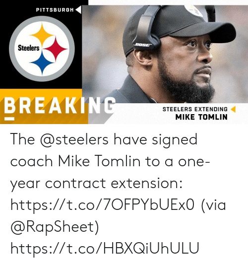 Pittsburgh: PITTSBURGH  BOSE  Steelers  BREAKING  STEELERS EXTENDING The @steelers have signed coach Mike Tomlin to a one-year contract extension: https://t.co/7OFPYbUEx0 (via @RapSheet) https://t.co/HBXQiUhULU