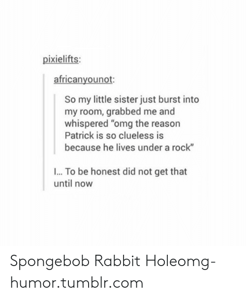 "Clueless: pixielifts:  africanyounot:  So my little sister just burst into  my room, grabbed me and  whispered ""omg the reason  Patrick is so clueless is  because he lives under a rock""  I... To be honest did not get that  until now Spongebob Rabbit Holeomg-humor.tumblr.com"