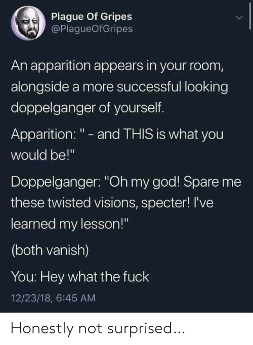 """Not Surprised: Plague Of Gripes  @PlagueOfGripes  An apparition appears in your room,  alongside a more successful looking  doppelganger of yourself.  Apparition: """" - and THIS is what you  would be!""""  Doppelganger: """"Oh my god! Spare me  these twisted visions, specter! I've  learned my lesson!""""  (both vanish)  You: Hey what the fuck  12/23/18, 6:45 AM Honestly not surprised…"""