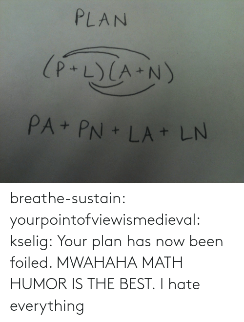 mwahaha: PLAN  (P+L)(A+N)  PA+ PN + LA + LN breathe-sustain:  yourpointofviewismedieval:  kselig:  Your plan has now been foiled. MWAHAHA  MATH HUMOR IS THE BEST.  I hate everything