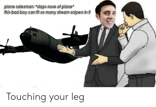 Init: plane salesman: slaps nose of plane  this bad boy can fit so many stream snipers init Touching your leg