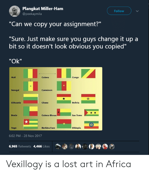 "sao tome: Plangkat Miller-Ham  @peekaymila  Follow  ""Can we copy your assignment?""  ""Sure. Just make sure you quvs change it up a  bit so it doesn't look obvious you copied""  ""Ok""  Mali  Guinea  Congo  Senegal  囧  Lithuania  Ghana  Bolivla  Benin  Guinea-Bissau  Sao Tome  Togo  Burkina Faso  Ethiopla  6:02 PM-28 Nov 2017  6,965 Retweets 4,466 Likes Vexillogy is a lost art in Africa"