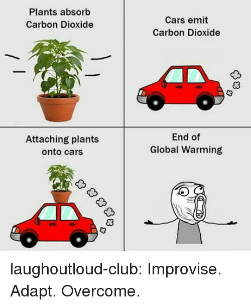 carbon dioxide: Plants absorb  Carbon Dioxide  Cars emit  Carbon Dioxide  Attaching plants  onto cars  End of  Global Warming laughoutloud-club:  Improvise. Adapt. Overcome.