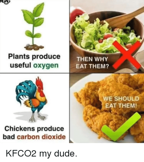 carbon dioxide: Plants produceT  useful oxygen  THEN WHY  EAT THEM?  E SHOULD  EAT THEM!  Chickens produce  bad carbon dioxide KFCO2 my dude.