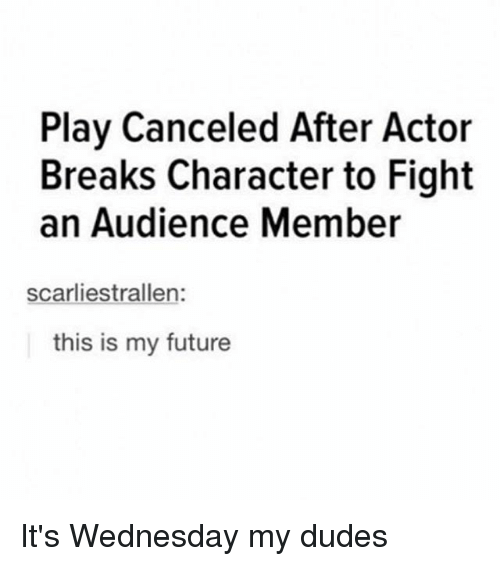 Future, Memes, and Wednesday: Play Canceled After Actor  Breaks Character to Fight  an Audience Member  scarliestrallen:  this is my future It's Wednesday my dudes