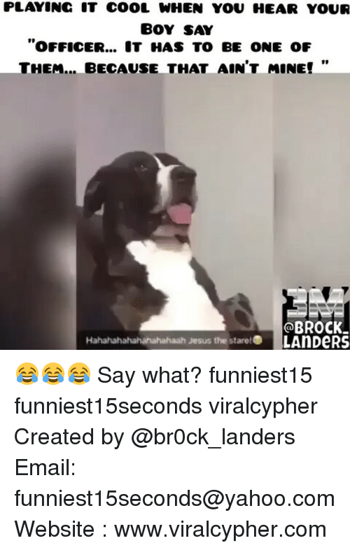 """Funny, Jesus, and Brock: PLAY INC IT COOL WHEN YOU HEAR YOUR  BOY SAY  """"oFFICER... HAS TO BE ONE oF  THEM... BECAUSE THAT AIN'T MINE!  BROCK.  Hahahahahahahahahaah Jesus the stare!  LAnDeRS 😂😂😂 Say what? funniest15 funniest15seconds viralcypher Created by @br0ck_landers Email: funniest15seconds@yahoo.com Website : www.viralcypher.com"""