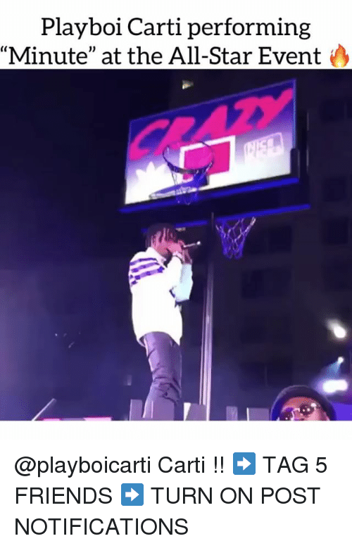 """All Star, Friends, and Memes: Playboi Carti performing  Minute"""" at the All-Star Event @playboicarti Carti !! ➡️ TAG 5 FRIENDS ➡️ TURN ON POST NOTIFICATIONS"""