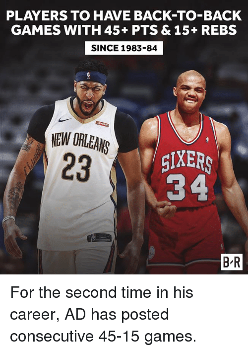 Back to Back, Games, and New Orleans: PLAYERS TO HAVE BACK-TO-BACK  GAMES WITH 45+ PTS & 15+ REBS  SINCE 1983-84  NEW ORLEANS  23  TgIXERS  34  B-R For the second time in his career, AD has posted consecutive 45-15 games.