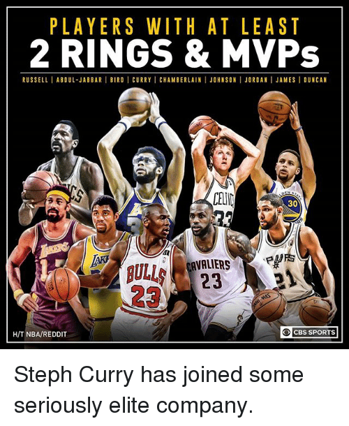 birdie: PLAYERS WITH AT LEAST  2 RINGS & MVPs  RUSSELLI ABDUL-JABBAR BIRDI CURRY I CHAMBERLAIN I JOHNSON I JORDAN I JAMESI DUNCAN  30  ANALIERS  O CBS SPORTS  HIT NBA/REDDIT Steph Curry has joined some seriously elite company.