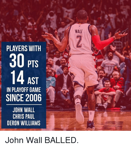 deron williams: PLAYERS WITH  PTS  AST  IN PLAYOFF GAME  SINCE 2006  JOHN WALL  CHRIS PAUL  DERON WILLIAMS  WALL John Wall BALLED.