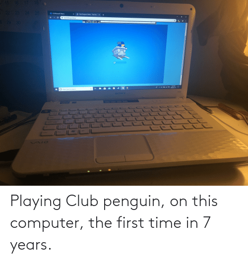 Penguin: Playing Club penguin, on this computer, the first time in 7 years.