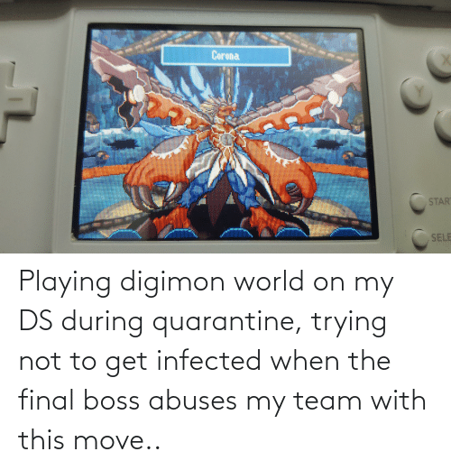 Final boss: Playing digimon world on my DS during quarantine, trying not to get infected when the final boss abuses my team with this move..