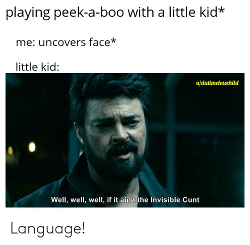 It Aint: playing peek-a-boo with a little kid*  me: uncovers face*  little kid:  u/datimelesschild  Well, well, well, if it ain't the Invisible Cunt Language!