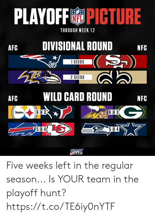 nfc: PLAYOFFPICTURE  THROUGH WEEK 12  DIVISIONAL ROUND  AFC  NFC  (S)  1 SEEDS  2 SEEDS  WILD CARD ROUND  AFC  NFC  G  6a 3  6 a 3  Steelers  5a 4 Five weeks left in the regular season...  Is YOUR team in the playoff hunt? https://t.co/TE6iy0nYTF