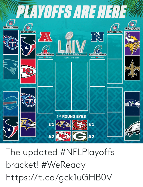 playoffs: PLAYOFFS ARE HERE  NFL  NFL  WILD CARD  NFL  NFL  (WILD CARD  DIVISIONAL  DIVISIONAL  LAIV  SUPER BOWL  CHAMPIONSHIP  CHAMPIONSHIP  PESEND / turbotax.  ESEVID r / turbotax.  FEBRUARY 2, 2020  1ST ROUND BYES  #1  #1  G#2  The updated #NFLPlayoffs bracket! #WeReady https://t.co/gck1uGHB0V