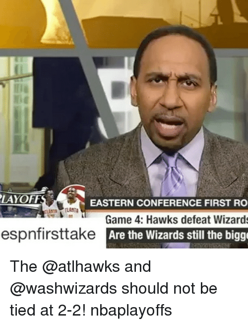 Biggly: PLAYOFFS  EASTERN CONFERENCE FIRST RO  Game 4: Hawks defeat Wizards  espnfirsttake Are the Wizards still the bigg The @atlhawks and @washwizards should not be tied at 2-2! nbaplayoffs