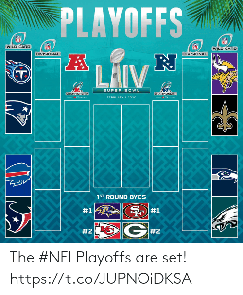 playoffs: PLAYOFFS  NFL  NFL  WILD CARD  NFL  NFL  (WILD CARD  DIVISIONAL  DIVISIONAL  LAIV  SUPER BOWL  CHAMPIONSHIP  CHAMPIONSHIP  / turbotaxlive  FEBRUARY 2, 2020  m / turbotaxlive  1ST ROUND BYES  #1  #1  G#2  The #NFLPlayoffs are set! https://t.co/JUPNOiDKSA
