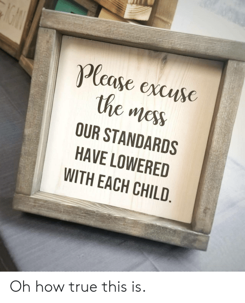 lowered: Plcase excusc  the mess  OUR STANDARDS  HAVE LOWERED  WITH EACH CHILD Oh how true this is.