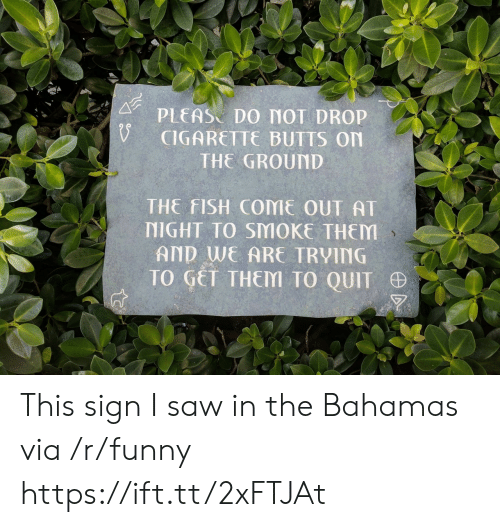 the bahamas: PLEAS DO MOT DROP  CIGARETTE BUTTS On  THE GROUND  THE FISH COME OUT AT  NIGHT TO SMOKE THEM  AND WE ARE TRVING  TO GET THEM TO QUIT This sign I saw in the Bahamas via /r/funny https://ift.tt/2xFTJAt