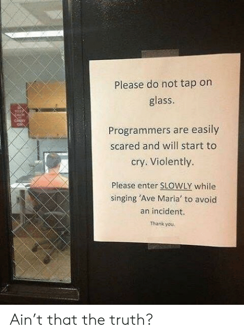 incident: Please do not tap on  glass  Programmers are easily  scared and will start to  cry. Violently.  Please enter SLOWLY while  singing 'Ave Maria to avoid  an incident.  Thank you. Ain't that the truth?