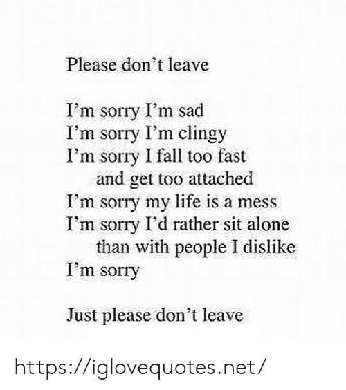 please don't leave: Please don't leave  I'm sorry I'm sad  I'm sorry I'm clingy  I'm sorry I fall too fast  and get too attached  I'm sorry my life is a mess  I'm sorry I'd rather sit alone  than with people I dislike  I'm sorry  Just please don't leave https://iglovequotes.net/
