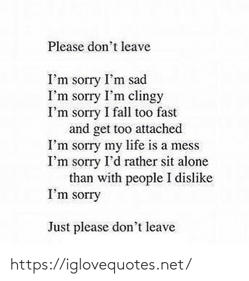 Im Sad: Please don't leave  I'm sorry I'm sad  I'm sorry I'm clingy  I'm sorry I fall too fast  and get too attached  I'm sorry my life is a mess  I'm sorry I'd rather sit alone  than with people I dislike  I'm sorry  Just please don't leave https://iglovequotes.net/