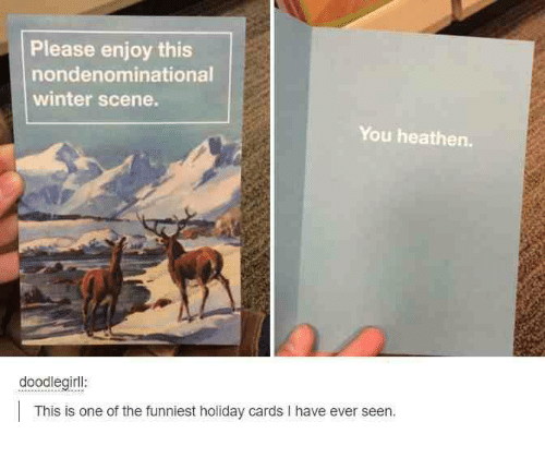 Winter, One, and Holiday: Please enjoy this  nondenominational  winter scene.  You heathen.  doodlegirll  This is one of the funniest holiday cards I have ever seen.