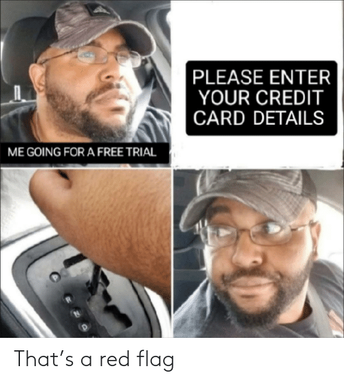 Free, Red, and Credit Card: PLEASE ENTER  YOUR CREDIT  CARD DETAILS  ME GOING FOR A FREE TRIAL That's a red flag