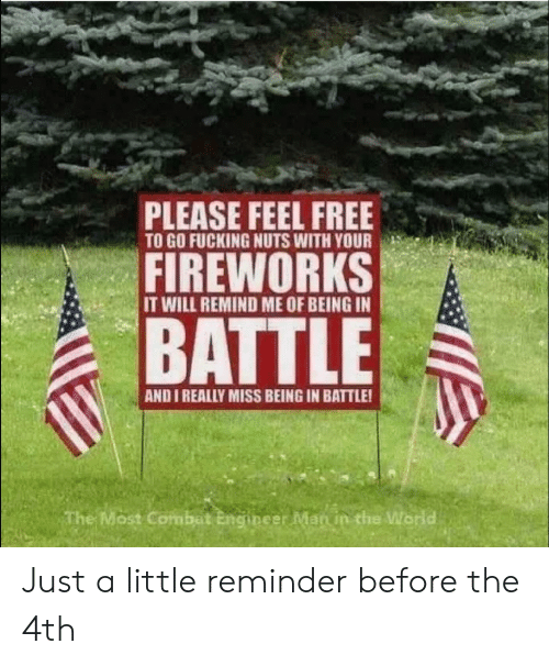 Fireworks: PLEASE FEEL FREE  TO GO FUCKING NUTS WITH YOUR  FIREWORKS  IT WILL REMIND ME OF BEING IN  BATTLE  AND I REALLY MISS BEING IN BATTLE!  The Most Combat Engineer Man in the World Just a little reminder before the 4th