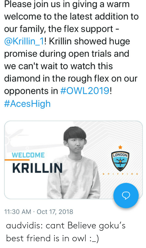 gokus: Please join us in giving a warm  welcome to the latest addition to  our family, the flex support  @Krillin_1! Krillin showed huge  promise during open trials and  we can't wait to watch this  diamond in the rough flex on our  opponents in #OWL2019!  #AcesHigh  WELCOME  LONDON  KRILLIN  S PITFIRE  11:30 AM Oct 17, 2018 audvidis:  cant Believe goku's best friend is in owl :_)