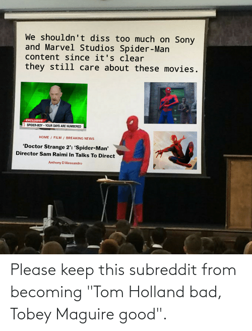 """Tobey Maguire: Please keep this subreddit from becoming """"Tom Holland bad, Tobey Maguire good""""."""