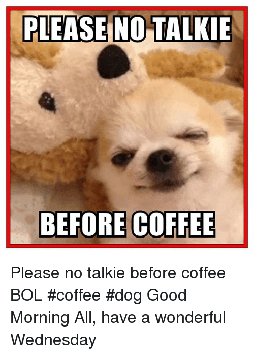 Have A Wonderful Wednesday: PLEASE NO TALKIE  BEFORE COFFEE Please no talkie before coffee    BOL   #coffee #dog Good Morning All, have a wonderful Wednesday