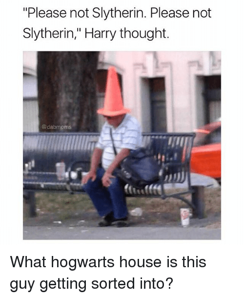 """slytherins: """"Please not Slytherin. Please not  Slytherin,"""" Harry thought.  @dabmoms What hogwarts house is this guy getting sorted into?"""
