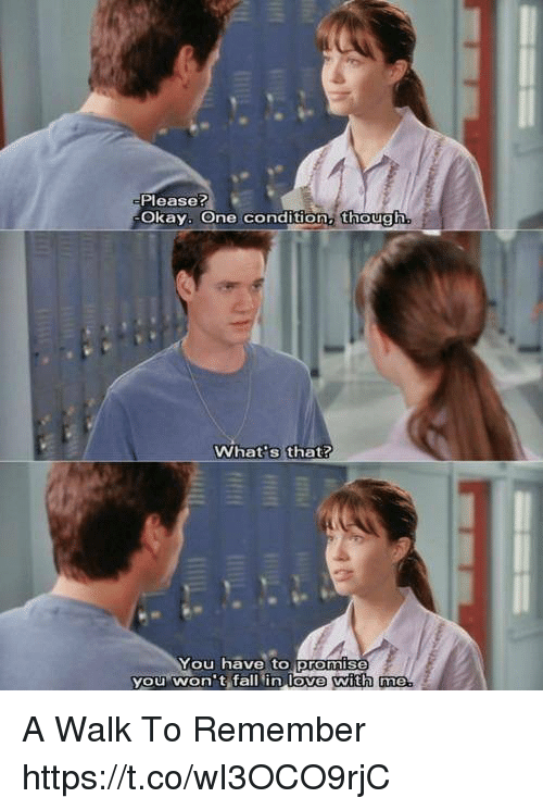 Fall, Love, and Memes: Please?  Okay. One condition, though  What s that?  You have to promis  you won't fall in love with me  with me A Walk To Remember https://t.co/wI3OCO9rjC