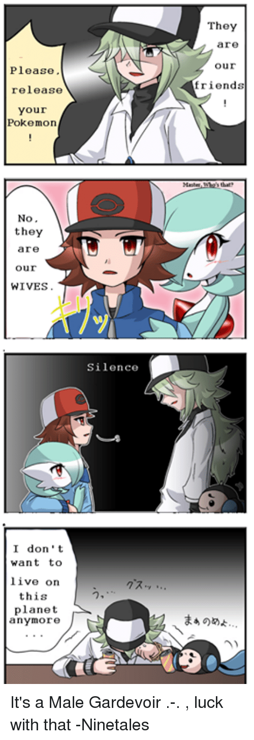 Male Gardevoir: Please,  release  your  Pokemon  No  they  are  Our  WIVES.  I don't  want to  live on  this  planet  anymore  J  Silence  They  are  Our  friends It's a Male Gardevoir .-. , luck with that -Ninetales