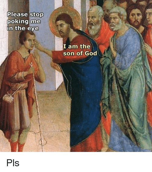 memes: Please stop  poking me  in the eye  I am the  son of God Pls