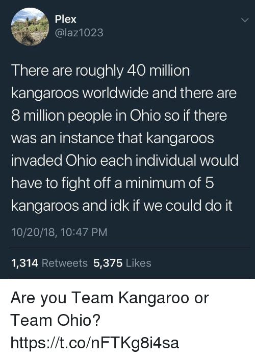 Plex: Plex  @laz1023  There are roughly 40 million  kangaroos worldwide and there are  8 million people in Ohio so if there  was an instance that kangaroos  invaded Ohio each individual would  have to fight off a minimum of 5  kangaroos and idk if we could do it  10/20/18, 10:47 PM  1,314 Retweets 5,375 Likes Are you Team Kangaroo or Team Ohio? https://t.co/nFTKg8i4sa