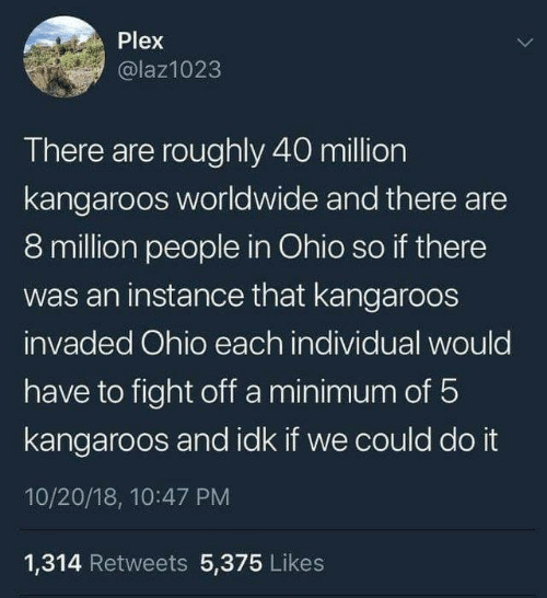 Plex: Plex  @laz1023  There are roughly 40 million  kangaroos worldwide and there are  8 million people in Ohio so if there  was an instance that kangaroos  invaded Ohio each individual would  have to fight off a minimum of 5  kangaroos and idk if we could do it  10/20/18, 10:47 PM  1,314 Retweets 5,375 Likes