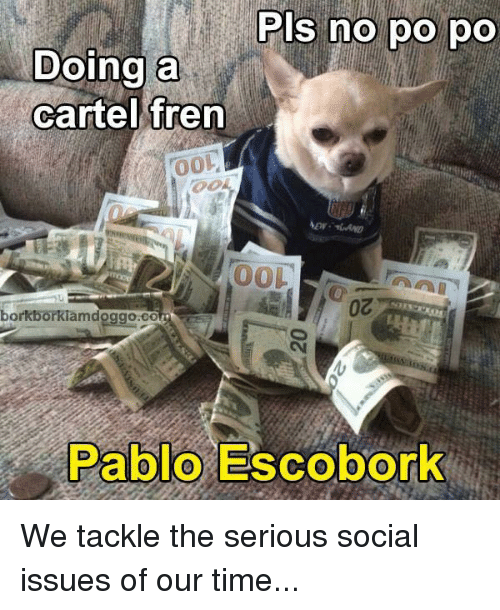 Cartelling: Pls no po po  Doing a  cartel fren  00L  borkborkiamdoggoaco  Pablo Escobork We tackle the serious social issues of our time...