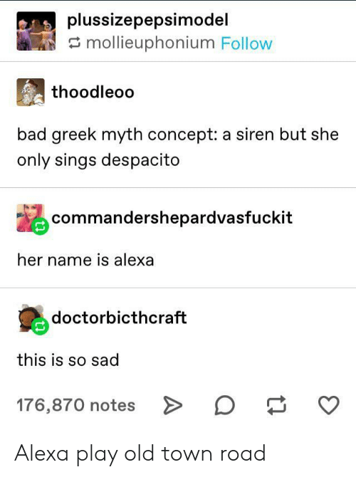 myth: plussizepepsimodel  mollieuphonium Follow  thoodleoo  bad greek myth concept: a siren but she  only sings despacito  commandershepardvasfuckit  her name is alexa  doctorbicthcraft  this is so sad  176,870 notes > Alexa play old town road