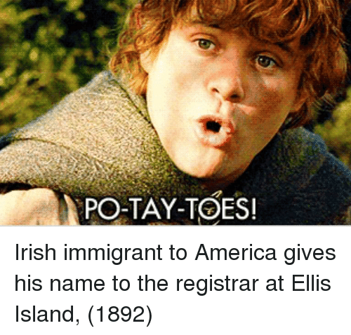 ellis: PO-TAY-TOES Irish immigrant to America gives his name to the registrar at Ellis Island, (1892)