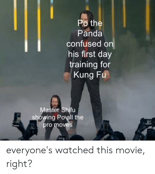 kung fu master: Po the  Panda  confused on  his first day  training for  Kung Fu  Master Shifu  showing Polall the  pro moves everyone's watched this movie, right?