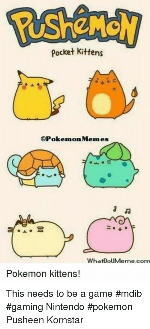 Pocket Kittens Memes Whatdoumerme Com Pokemon Kittens This Needs To Be A Game Mdib Gaming