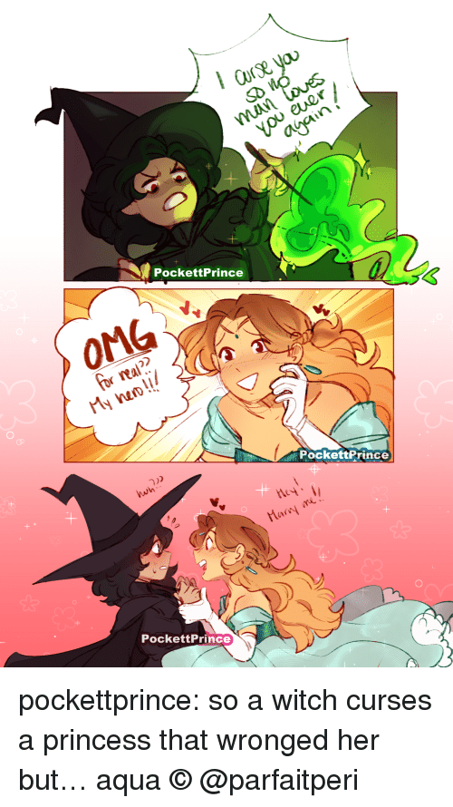 Omg, Tumblr, and Blog: PockettPrince  OMG  for real  My nao!!  PockettPrince  wh  Mar me  PockettPrince pockettprince: so a witch curses a princess that wronged her but… aqua © @parfaitperi