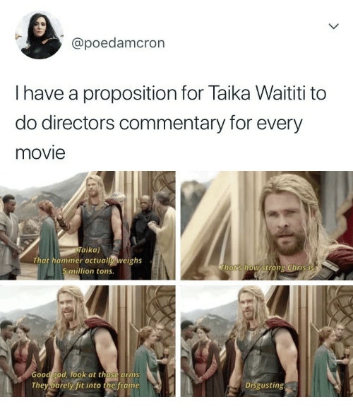 proposition: @poedamcron  I have a proposition for Taika Waititi to  do directors commentary for every  movie   Taika)  That hammer actually weighs  5 million tons.  Thats how strong Chris i  Good god, ook at those arms  They barely fit into the frame  Disgusting