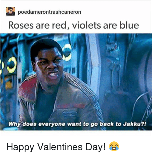 Why Doe: poedamerontrashcaneron  Roses are red, violets are blue  Why does everyone want to go back to Jakku?! Happy Valentines Day! 😂