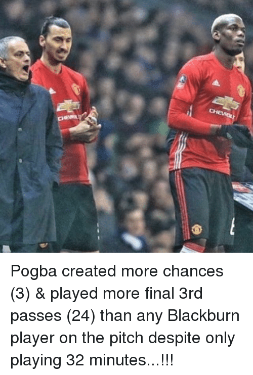 Memes, 🤖, and Player: Pogba created more chances (3) & played more final 3rd passes (24) than any Blackburn player on the pitch despite only playing 32 minutes...!!!